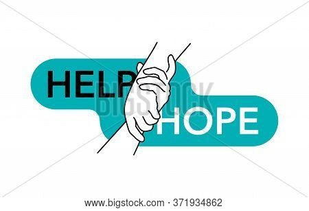 Help And Hope Isolated Vector Concept - Drawn Outline Helping Hands - Benevolence Charity Illustrati