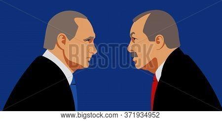 Recep Tayyip Erdogan With Vladimir Putin. President Of Russia. President Of Turkey. 27 March 2020. E