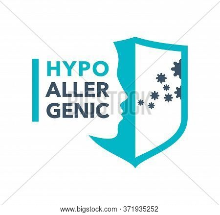 Hypoallergenic Emblem - Anti Allergy Stamp - Human Profile And Shield Blocking The Inhalation Of Har