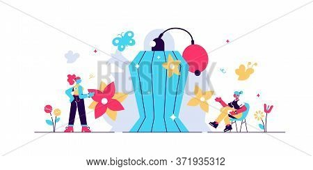 Perfume Vector Illustration. Flat Tiny Aroma Spray Product Persons Concept. Vintage Bottle And Hygie