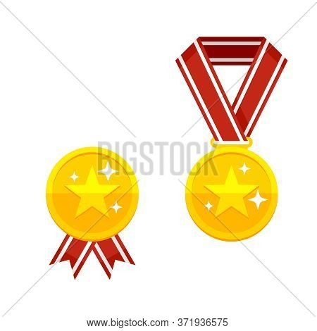 Champion Medal - Golden Awards With Star Symbol, Red Ribbon And Brilliance Light Stars - Vector Flat