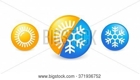 Hot And Cold Weather Climate Control - Flat Vector Icons With Symbols Of Sun And Snowflake - Climate
