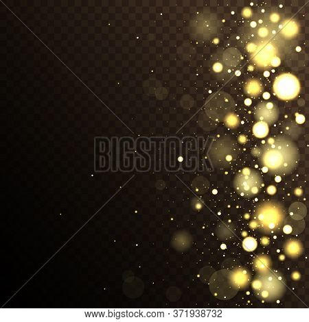 Light Abstract Glowing Bokeh Lights. Bokeh Lights Effect.  Golden Bokeh Lights With Glowing Particle