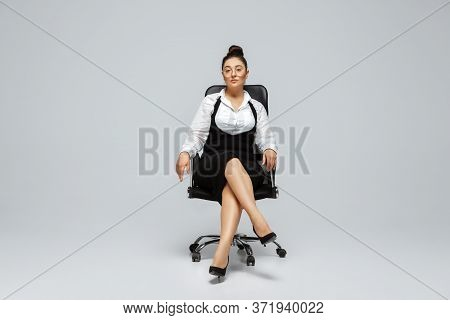 Paperwork. Young Woman In Office Attire. Bodypositive Female Character, Feminism, Loving Herself, Be