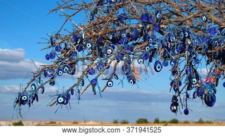 Evil Eye Charms Or Nazar Glass , Traditional Turkish Blue Glass Beads Hanging On Bare Tree In Nevseh