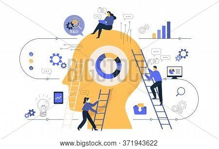 Reative Of Business Graphics, The Company Is Engaged In Joint Search For Ideas, Abstract Huge Head,