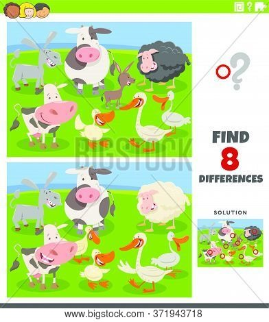 Cartoon Illustration Of Finding Differences Between Pictures Educational Task For Kids With Funny Fa