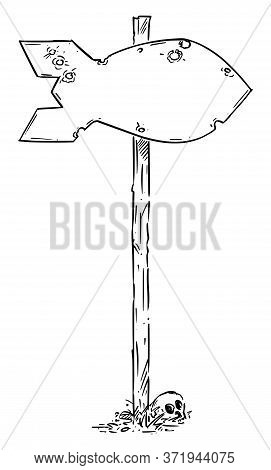 Hand Drawn Vector Of Empty Traffic Arrow Sign Or Guidepost Or Signpost In Shape Of Atomic Nuclear Bo