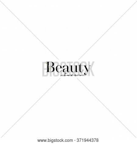 Beauty Studio Logo With Minimal Floral Design. Vector Trendy Abstract Flower Branch Icon, Beauty Sal