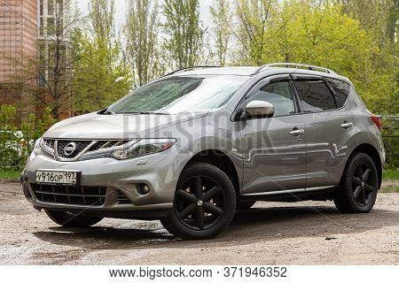 Novosibirsk/ Russia - May 02 2020: Gray Nissan Murano, Crossover  Car Parked Outdoors On A Warm Summ