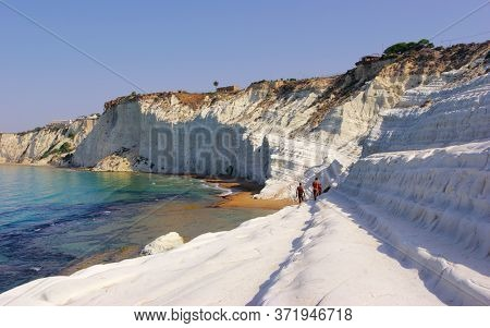 white cliff in southern coast of Sicily natural landmark