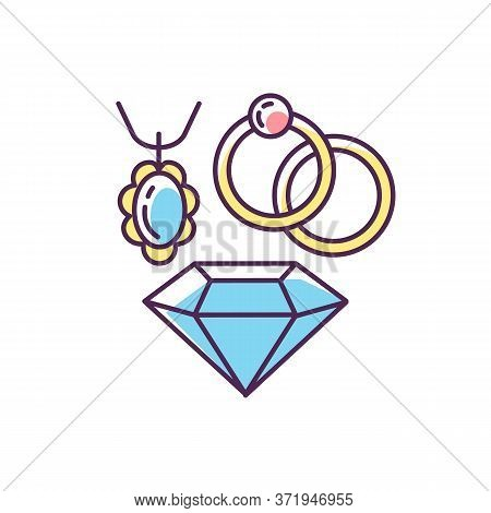 Jewelry Rgb Color Icon. Female Luxury Accessories. Shopping Mall Category. Elegant Necklace And Ring