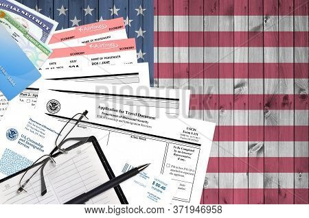 Uscis Form I-131 Application For Travel Document Lies On Flat Lay Office Table And Ready To Fill. U.
