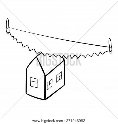 Concept Of Divorce And Division Of Property. Saw Cuts The House In Half. Black And White Sketch Vect