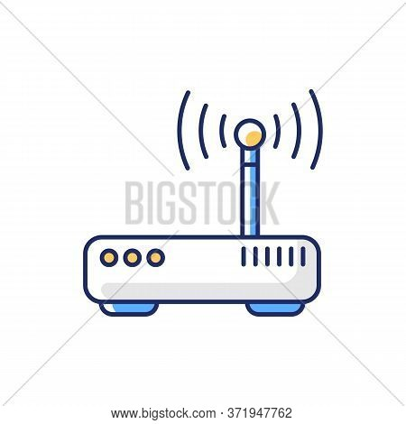 Gateway Rgb Color Icon. Tunnel Proxy Server, Wireless Internet Connection Access Point. Device For U
