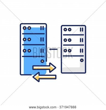 Reverse Proxy Rgb Color Icon. Website Host Server Protection, Modern Cybersecurity. Vps Handling Use