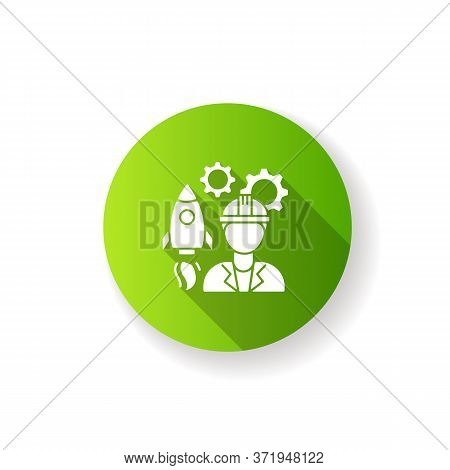 Aerospace Engineer Green Flat Design Long Shadow Glyph Icon. Male Professional To Work On Spaceship.