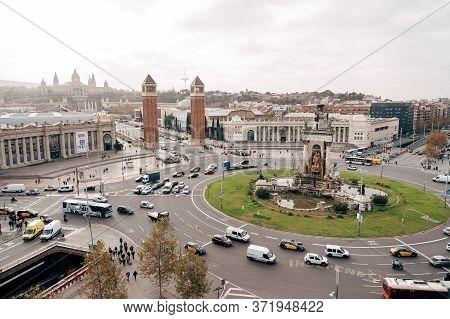 Barcelona, Spain - 15 December 2019: Plaza De Espana In Barcelona, The Square Of The Capital Of Cata