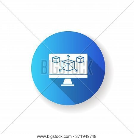 Modeling Blue Flat Design Long Shadow Glyph Icon. Three Dimensional Prototype For Graphic Design Pro