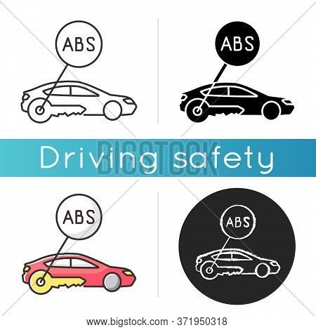 Anti Lock System Icon. Safe Driving, Automobile Security Measure, Car Safety Precaution. Linear Blac