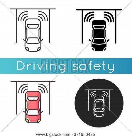 Parking Sensors Icon. Smart Driver Assistance, Automotive Technology, Driving Safety. Linear Black A