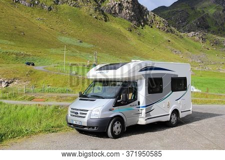 Lofoten, Norway - July 28, 2015: Ford Motorhome Van In Lofoten Islands, Norway. Norway Had Almost 5