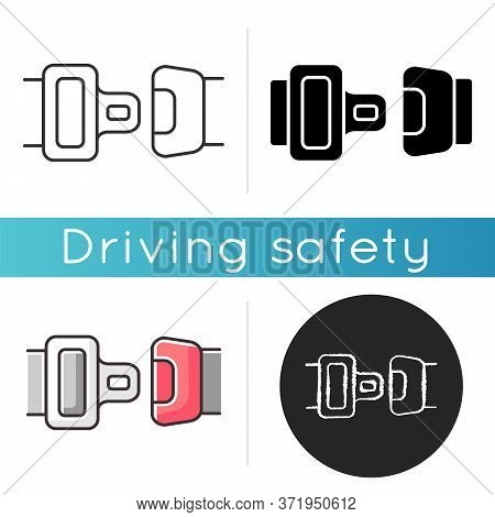 Seat Belt Icon. Safe Driving Rule, Security Measure, Safety Precaution. Linear Black And Rgb Color.