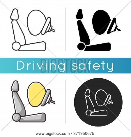Airbag Icon. Accident Protection, Safety Precaution. Linear Black And Rgb Color. Life Insurance, Inj