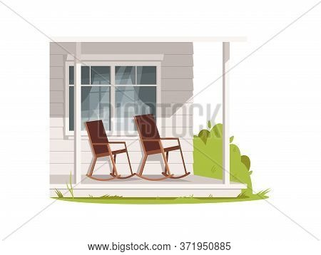 Patio With Two Armchairs Semi Flat Rgb Color Vector Illustration. Comfort Porch Of Village House. Ch