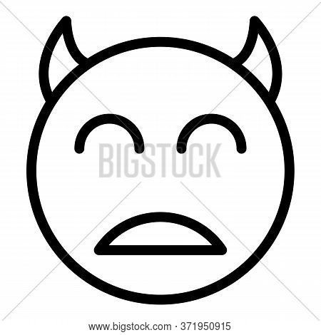 Smile With Horns Icon. Outline Smile With Horns Vector Icon For Web Design Isolated On White Backgro