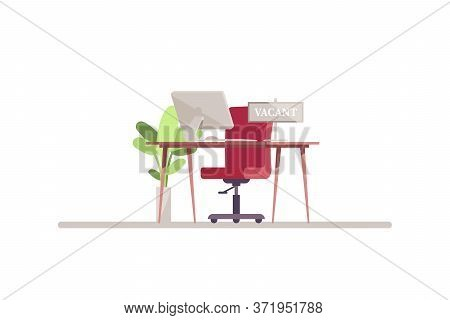 Hr Workspace Semi Flat Rgb Color Vector Illustration. Computer Monitor On Desktop. Chair Near Table