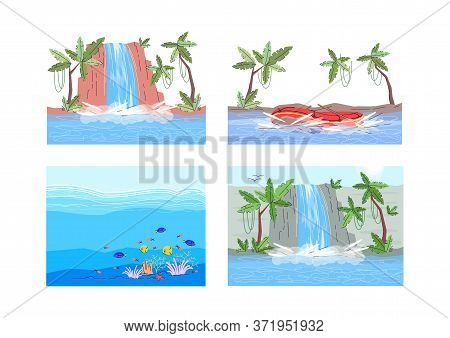 Aquatic Scenes Semi Flat Vector Illustration Set. Extreme Water Sport In River With Boar. Underwater