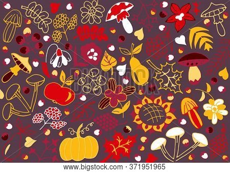 Colorful Autumn Background. The Idea Of A Print For A Pillow, Duvet Cover, Mug, Glass, Packaging, Wa