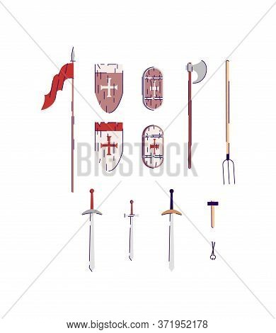 Medieval Weapons And Tools Semi Flat Rgb Color Vector Illustration Set. Swords With Heraldic Shields