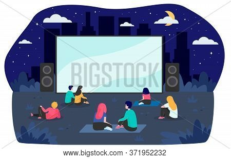 Young Friends Resting At Backyard And Watching Movie Flat Vector Illustration. Open Air Cinema At Ni