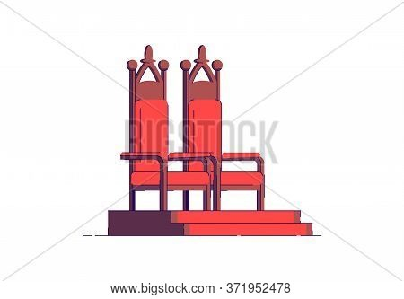 Throneroom Semi Flat Rgb Color Vector Illustration. Elegant Seat For Fantasy Nobility. Luxury Chair