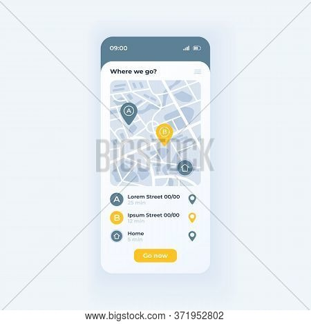 Bus Navigation App Smartphone Interface Vector Template. Mobile App Page Light Theme Design Layout.