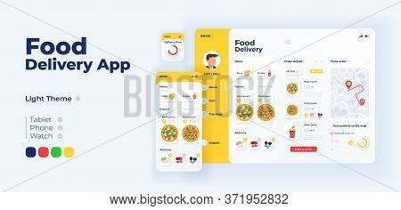 Fast Food Delivery App Screen Vector Adaptive Design Template. Italian Pizza Ordering Application Li