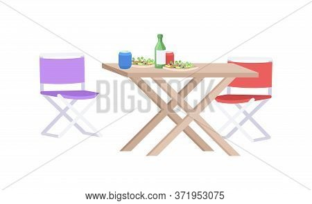 Outdoors Picnic Semi Flat Rgb Color Vector Illustration. Desk With Snacks And Drinks. Outdoor Lounge