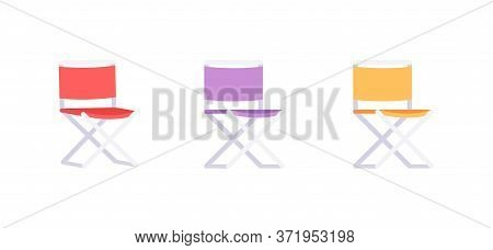 Colorful Folding Chairs Semi Flat Rgb Color Vector Illustration Set. Comfortable Seat To Relax After