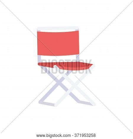 Outdoors Rest Semi Flat Rgb Color Vector Illustration. Comfortable Seat To Relax After Hiking In Cam
