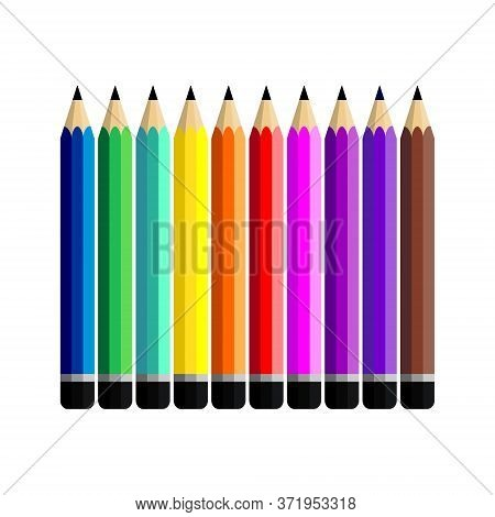Set Of Pencil Vector Flat On White Background. Collection Of Colorful Pencils. Pencil Vector Illustr