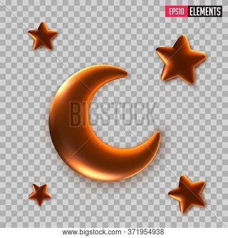 3d Golden Reflective Crescent Moons With Stars. Decorative Vector Elements Of Metallic Golden 3d Hal