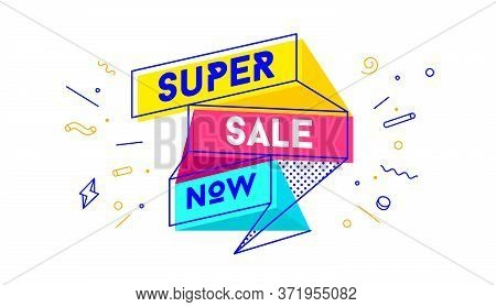 Super Sale. 3d Sale Banner With Text Super Sale For Emotion, Motivation. Modern 3d Colorful Web Temp