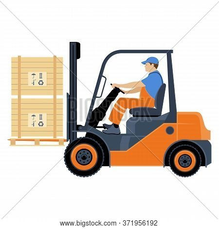 Transportation Of Goods By Forklift. A Man Works On A Forklift. Vector Illustration Isolated On Whit