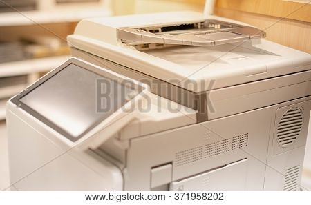 The Touchscreen Monitor Of The Copy Machine For Copy A Paper Document, Scanner Document In The Copy