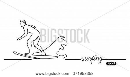Surfer Silhouette Outline. Surfing Simple Vector Background, Illustration. One Continuous Line Drawi