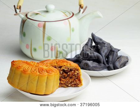 Moon cake with tea and water caltrop poster