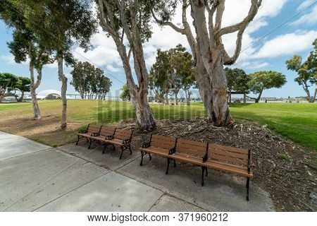 Waterfront Public Park With Benches At The Embarcadero Marina Park South, San Diego Downtown. Califo