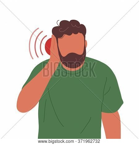 Man With Earache Touching His Ear. Flat Trendy Style. Vector Hand Drawn Character Illustration. Isol